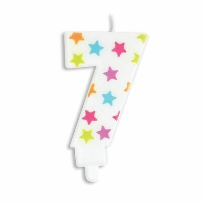 ScrapCooking Candle STARS No.7 - ΛΕΥΚΟ ΚΕΡΙ ΜΕ ΠΟΛΥΧΡΩΜΑ ΑΣΤΕΡΙΑ ΑΡΙΘΜΟΣ '7'