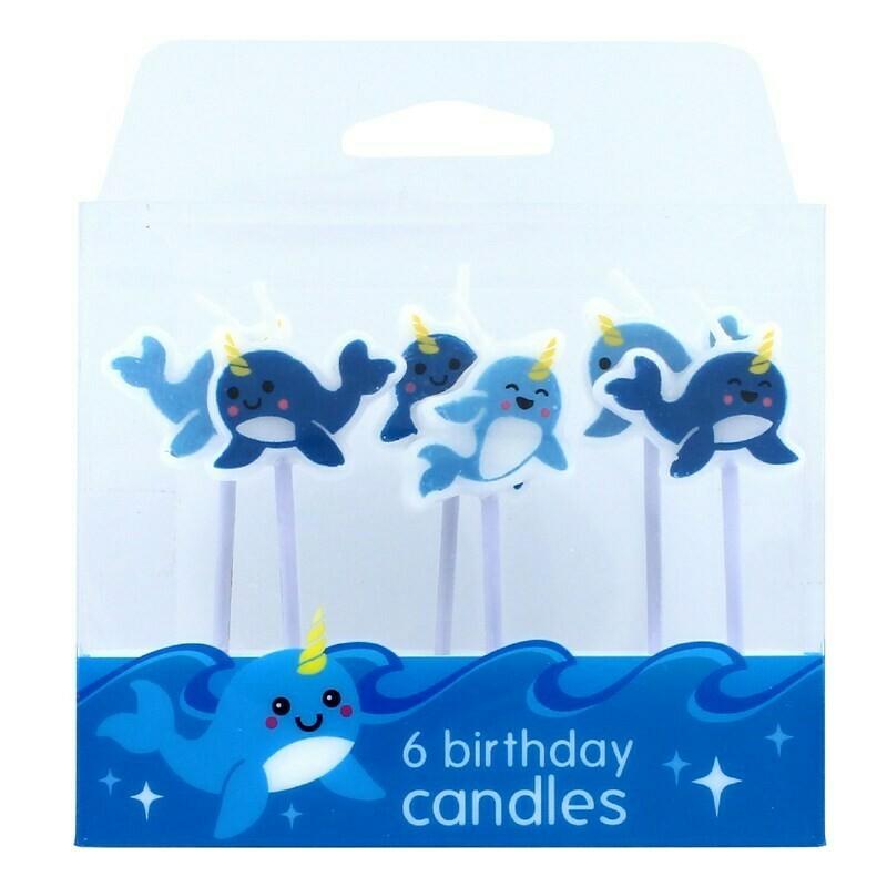 Novelty Candles -NARWHAL -Κεράκια 6 τεμ Φάλαινα Μονόκερος