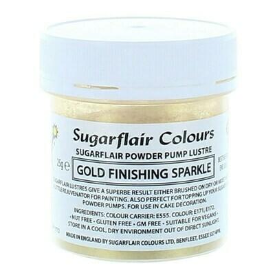 Sugarflair Powder Puff Glitter Dust REFILL -FINISHING SPARKLE -GOLD 25g - Ανταλλακτικό για  Σπρέι Αντλίας βρώσιμης σκόνης γκλίτερ Λαμπερό Τελείωμα Χρυσό 25γρ
