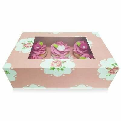 Box for 6 Cupcakes/Muffins -PINK ROSES - Κουτί για 6 Καπκέϊκς/Μάφινς Ροζ με Τριαντάφυλλα