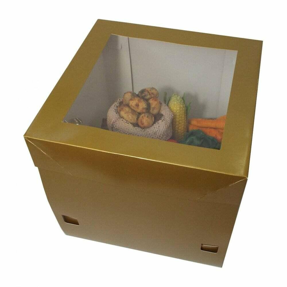 Tall Window Cake Box -GOLD -Ψηλό Κουτί 30εκ με Ύψος 30εκ Χρυσό