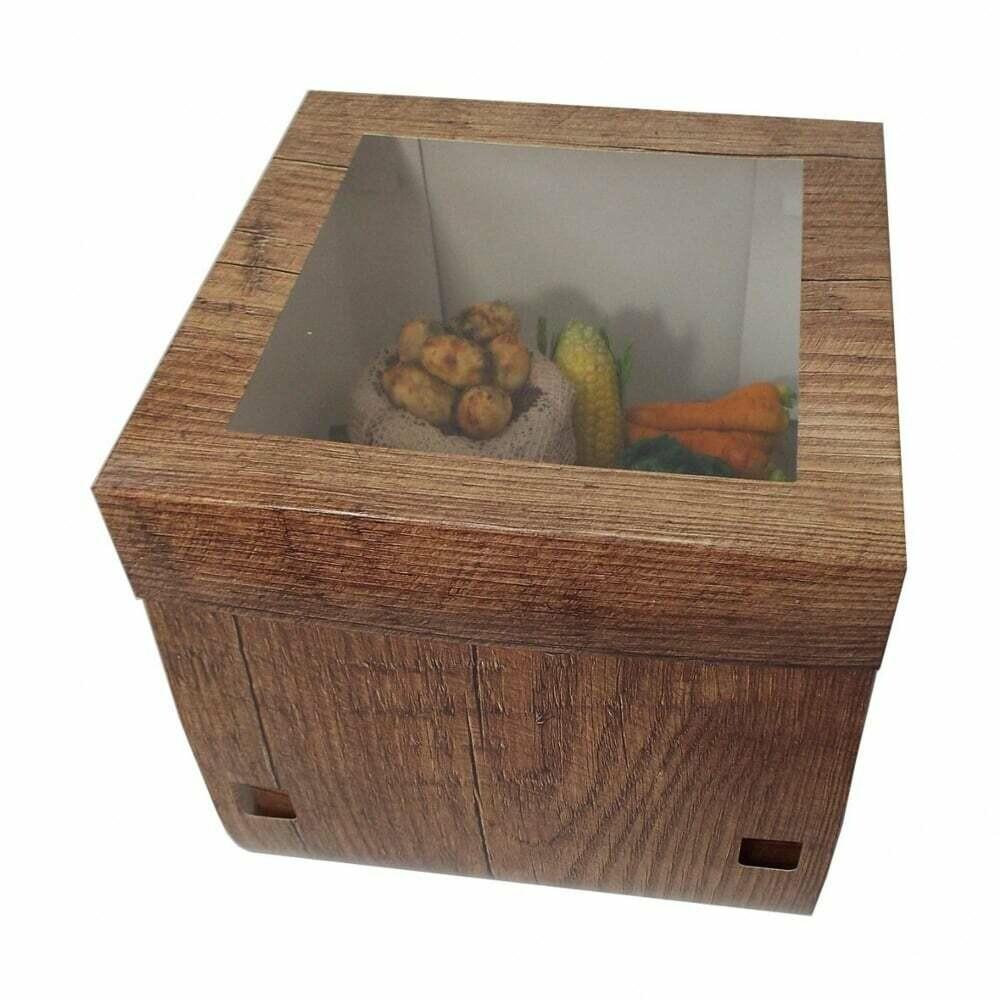 Tall Window Cake Box -WOOD EFFECT -Ψηλό Κουτί 30εκ με Ύψος 30εκ Εφέ Ξύλου
