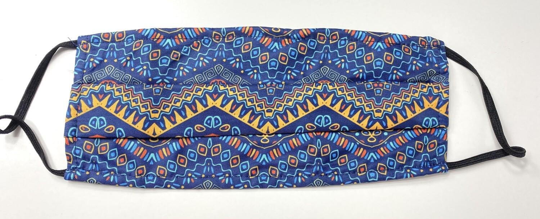 Μάσκα Ενηλίκων Dark Blue Pattern - Μπλε με γεωμετρικό σχέδιο