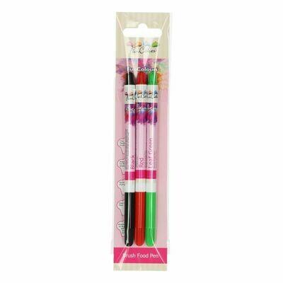 FunCakes Edible Brush Food Pen -3 τμχ -BLACK, RED & GREEN -Βρώσιμος Μαρκαδόρος με Μύτη Πινέλου -Μαύρος, Κόκκινος & Πράσινος