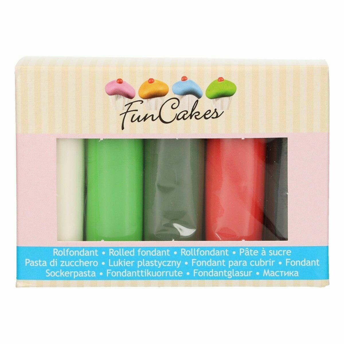 FunCakes Fondant -CHRISTMAS MUTIPACK 5x100g - Ζαχαρόπαστα 5 χρώματα - Λευκό, Μαύρο, Ανοιχτό και Σκούρο Πράσινο και Κόκκινο