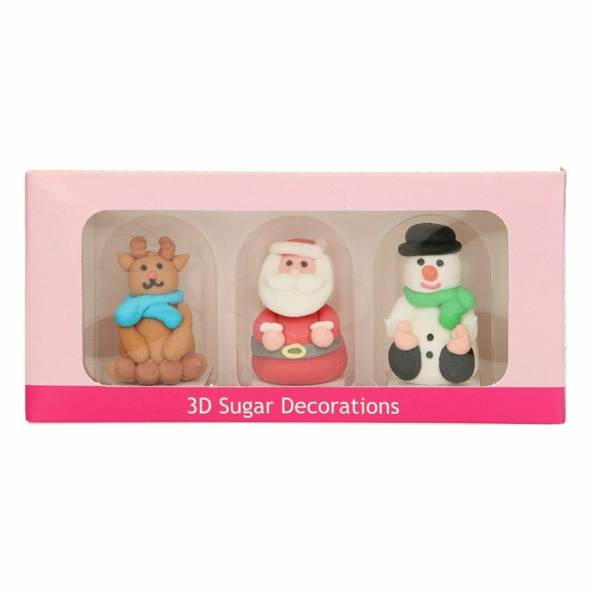 FunCakes Sugar Decorations 3D Christmas Figures Set of 3- Χριστουγεννιάτικα Ζαχαρωτά 3D - ΑΓΙΟΣ ΒΑΣΙΛΗΣ, ΡΟΥΝΤΟΛΦ, ΧΙΟΝΑΝΘΡΩΠΟΣ