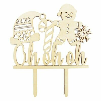 Scrapcooking Cake Topper Wood 'Oh Oh Oh' - Ξύλινο τόπερ Χριστουγεννιάτικο