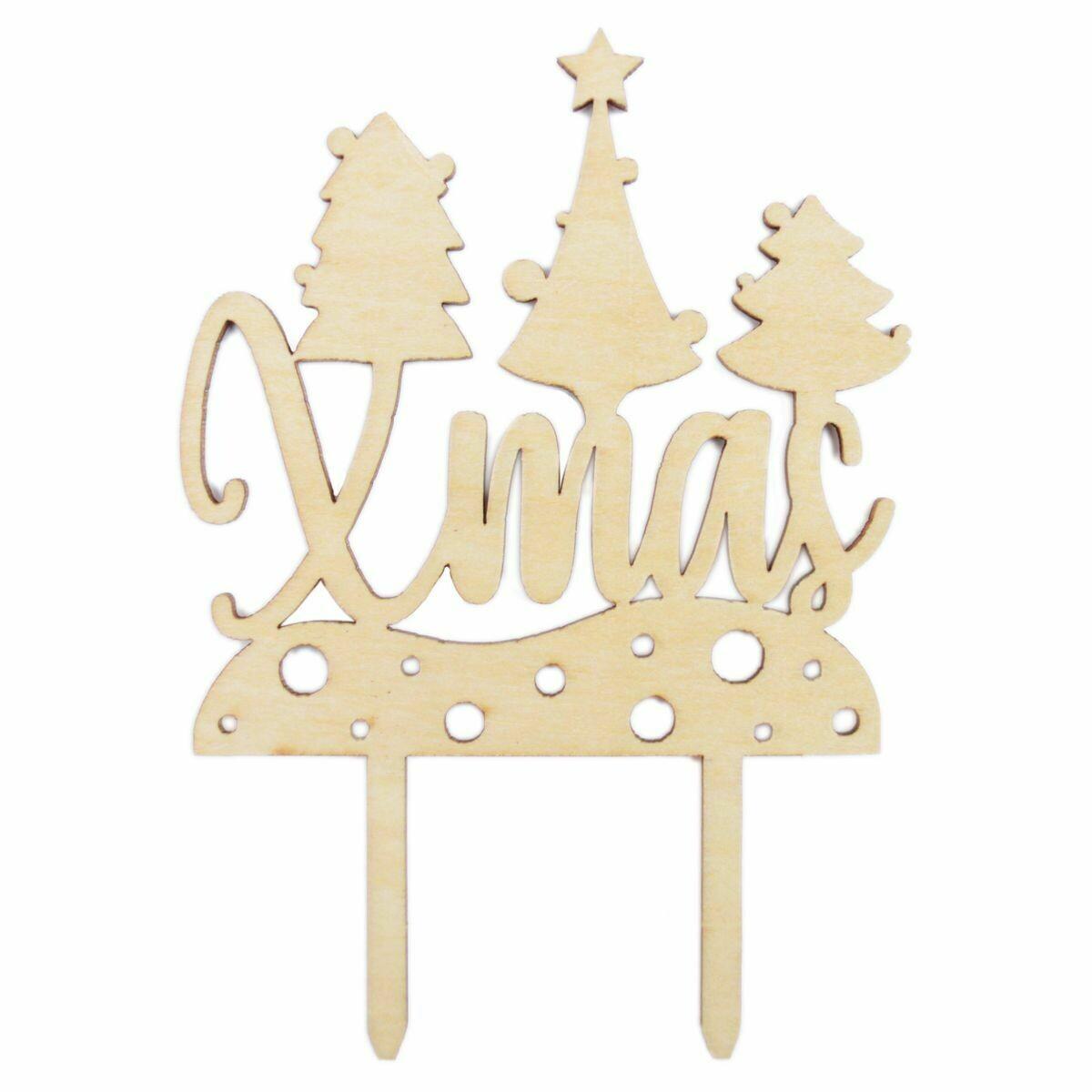 Scrapcooking Cake Topper Wood 'Xmas' - Ξύλινο Τόπερ Χριστουγεννιάτικο
