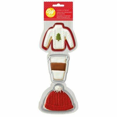 Wilton Christmas Cookie Cutter Set of 3 -SWEATER, LATTE COFFEE, HAT - Σετ 3 κουπ πατ - ΠΟΥΛΟΒΕΡ, ΚΑΦΕΣ ΛΑΤΕ, ΣΚΟΥΦΙ