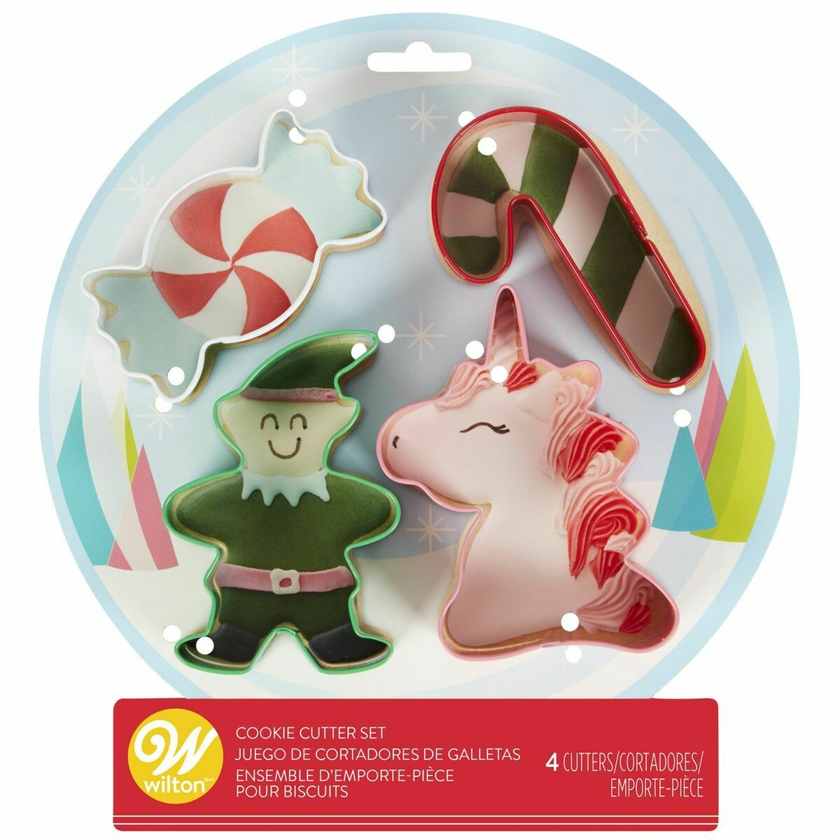 Wilton Christmas Cookie Cutter Set of 4 -SNOW SET - ELF, UNICORN, CANDY CANE, CANDY - Σετ 4τεμ Κουπ πατ - ΞΩΤΙΚΟ, ΜΟΝΟΚΕΡΟΣ, ΚΑΡΑΜΕΛΑ, ΓΛΕΙΦΙΤΖΟΥΡΙ