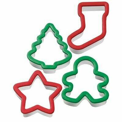Wilton Christmas -Net of 4 Cookie Cutters - Σετ 4τεμ Πλαστικά Κουπ πατ Χριστουγεννιάτικα - ΜΠΙΣΚΟΤΑΝΘΡΩΠΟΣ, ΑΣΤΕΡΙ, ΜΠΟΤΑ, ΧΡΙΣΤΟΥΓΕΝΝΙΑΤΙΚΟ ΔΕΝΤΡΟ