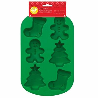 Wilton Christmas Silicone Mould -STOCKING -GINGERBREAD BOY -TREE - Φόρμα ψησίματος Σιλικόνης ΜΠΙΣΚΟΤΑΝΘΡΩΠΟΣ, ΚΑΛΤΣΑ, ΔΕΝΤΡΟ