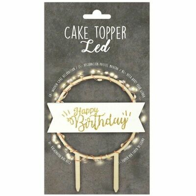 Scrapcooking Cake Topper LED 'Happy Birthday' - Τόπερ 'Happy Birthday' με φωτάκια Led