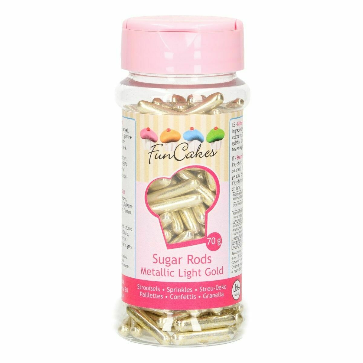 FunCakes Sprinkles -Metallic Sugar Rods XL GOLD -Μείγμα Ζαχαρωτών Ράβδοι -Χρυσοί 70γρ