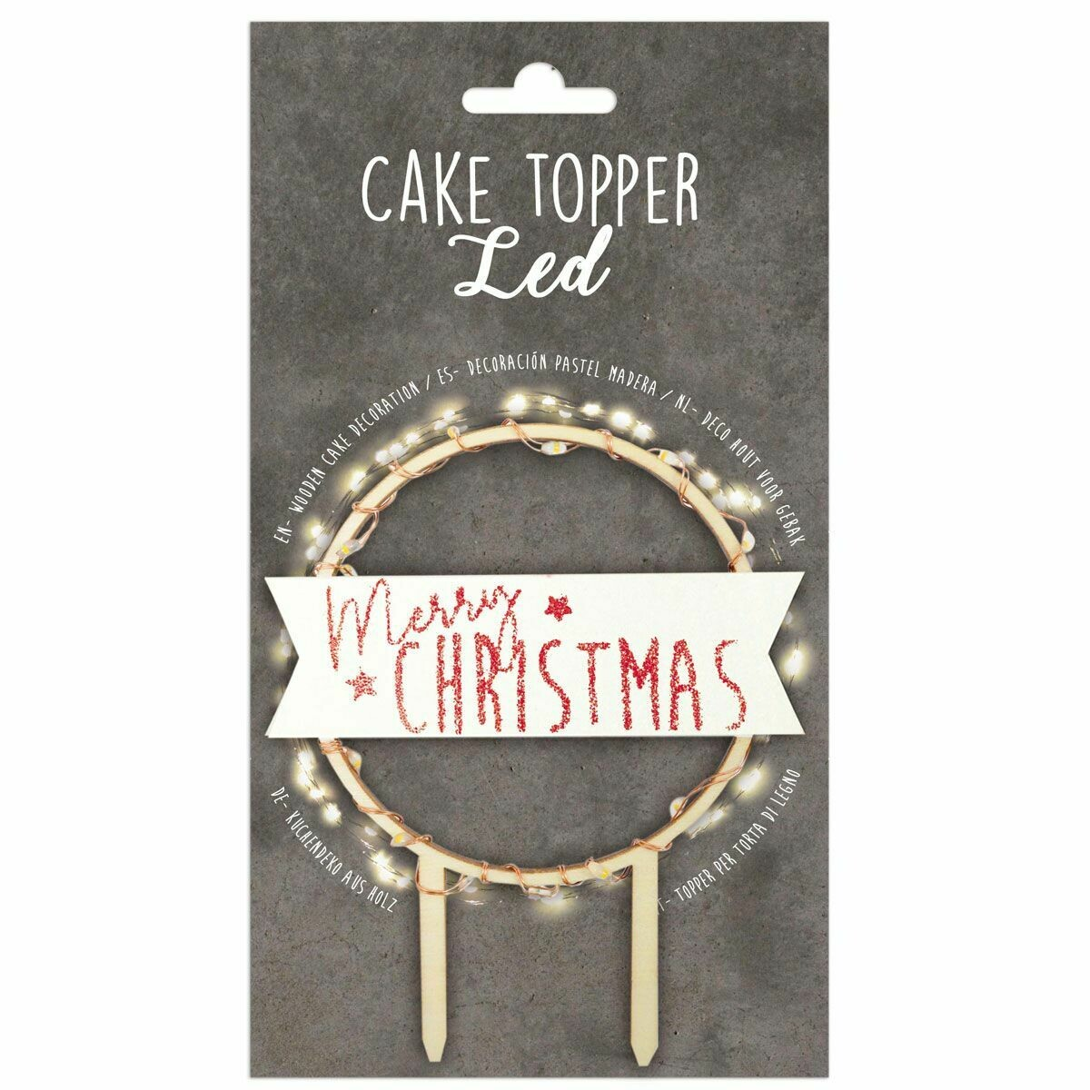 Scrapcooking Cake Topper LED 'Merry Christmas' - Τόπερ με φωτάκια Led 'Merry Christmas'