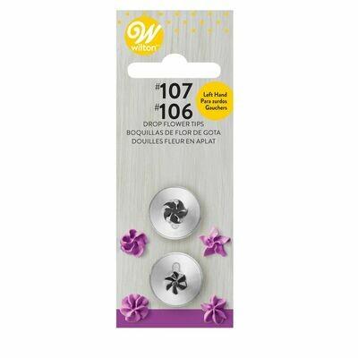Wilton Decorating Tip Set Left Handed No.106L & 107L - Μύτες Κορνέ Λουλούδια για αριστερόχειρες
