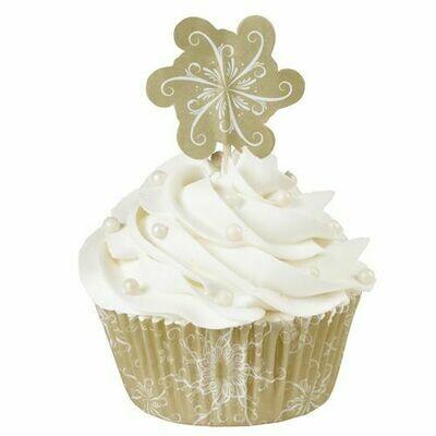 Wilton Christmas Cupcake Cases -'SPARKLE & CHEER COMBO PACK'  -Θήκες ψησίματος Καπκέικ/Μάφιν και τόπερ Χριστουγεννιάτικα 24τεμ