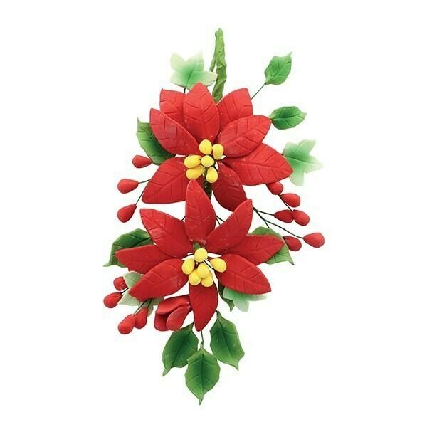 House Of Cake - Poinsettia Wired Sugar Flower Spray - 140mm - Διακοσμητικό Λουλούδι Αλεξανδρινό ∞