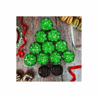 Christmas Tree Platter - Holds 12 - Πλαστική Θήκη Χριστουγεννιάτικο δέντρο για Μίνι καπκέικς/κέικ ποπς