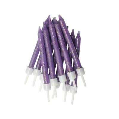 By AH -Candles -Set of 12 GLITTER PURPLE -Κεράκια με Γκλίτερ Μωβ 12 τεμ