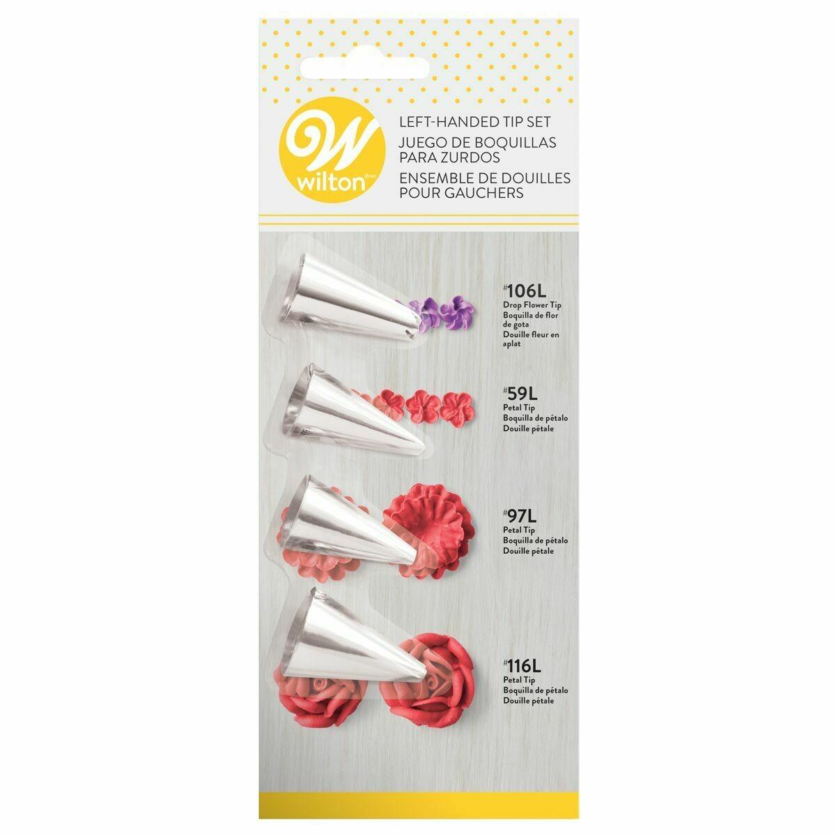 SALE!!! WILTON Nozzles Set of 4 -LEFT HANDED No.106L, No.59L, No.97L, & No.116L - Μύτες Κορνέ Λουλούδια για αριστερόχειρες 4τμχ