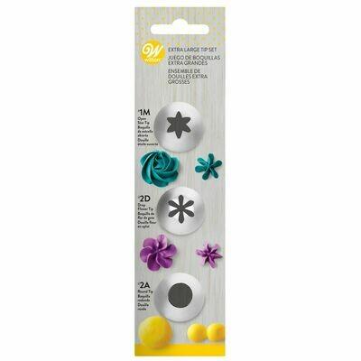 WILTON Nozzle -SET PETAL No.1M, No.2D & No.2A -Σετ 3 τεμ με μύτες κορνέ για λουλούδια