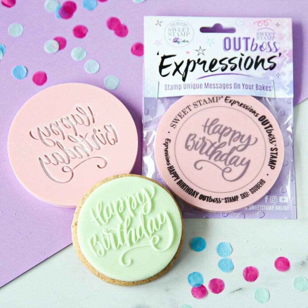 Sweet Stamp -OUTboss Expressions -Elegant 'Happy Birthday' - Σφραγίδα 'Happy Birthday'