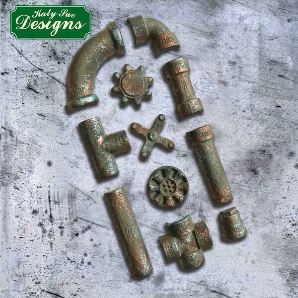 Katy Sue Silicone Mould -RUSTY PIPES -Καλούπι Σιλικόνης Σκουριασμένοι Σωλήνες