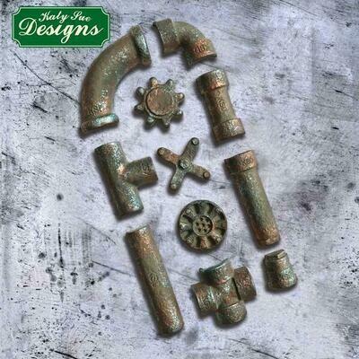 Katy Sue Silicone Mould -RUSTY PIPES -Καλούπι Σιλικόνης Σκουριασμένοι Σωλήνες