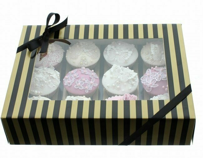SALE!!! Box for 12 Cupcakes/Muffins -STRIPED BLACK/GOLD Κουτί για 12 Καπκέϊκς/Μάφινς