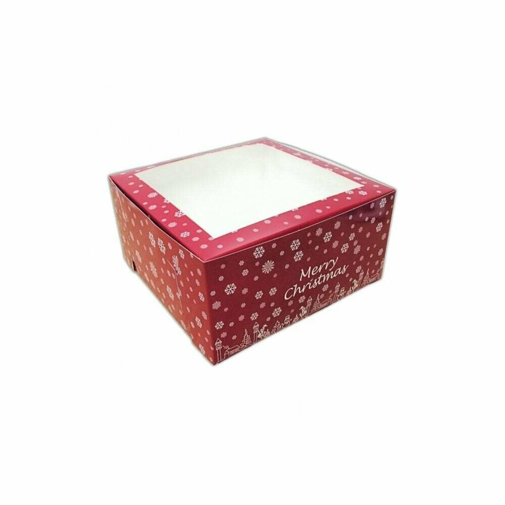 Box for Cake -DEEP RED CHRISTMAS BOX 20εκ - Τετράγωνο κουτί για γλυκά κόκκινο χριστουγεννιάτικο 20εκ.