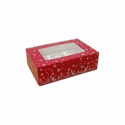 Box for 6 Cupcakes/Muffins -RED CHRISTMAS - Κόκκινο Χριστουγεννιάτικο Κουτί για 6 Καπκέϊκς/Μάφινς