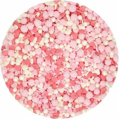 FunCakes Sprinkle Mix 65γρ -BELOVED - Μείγμα Ζαχαρωτών σε ροζ και λευκές αποχρώσεις