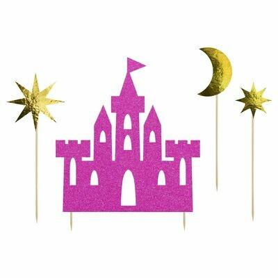 SALE!!! PartyDeco Cake Topper -Princess Castle 4τμχ - Σετ 4τεμ Τόπερ Πριγκίπισσα