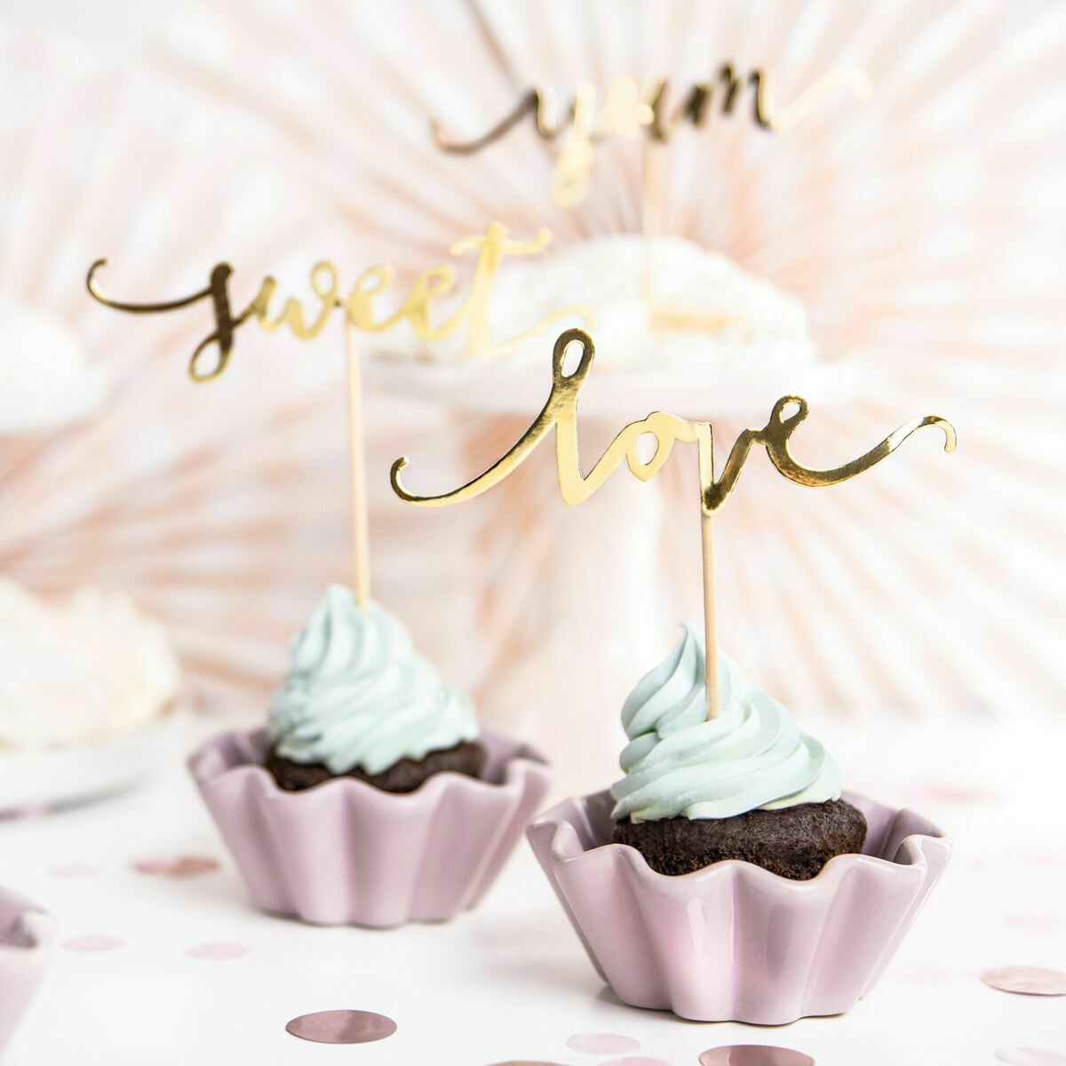 PartyDeco Cupcake Toppers -Love, Sweet & Yum' -GOLD - Σετ 6τεμ Τόπερ Χρυσά
