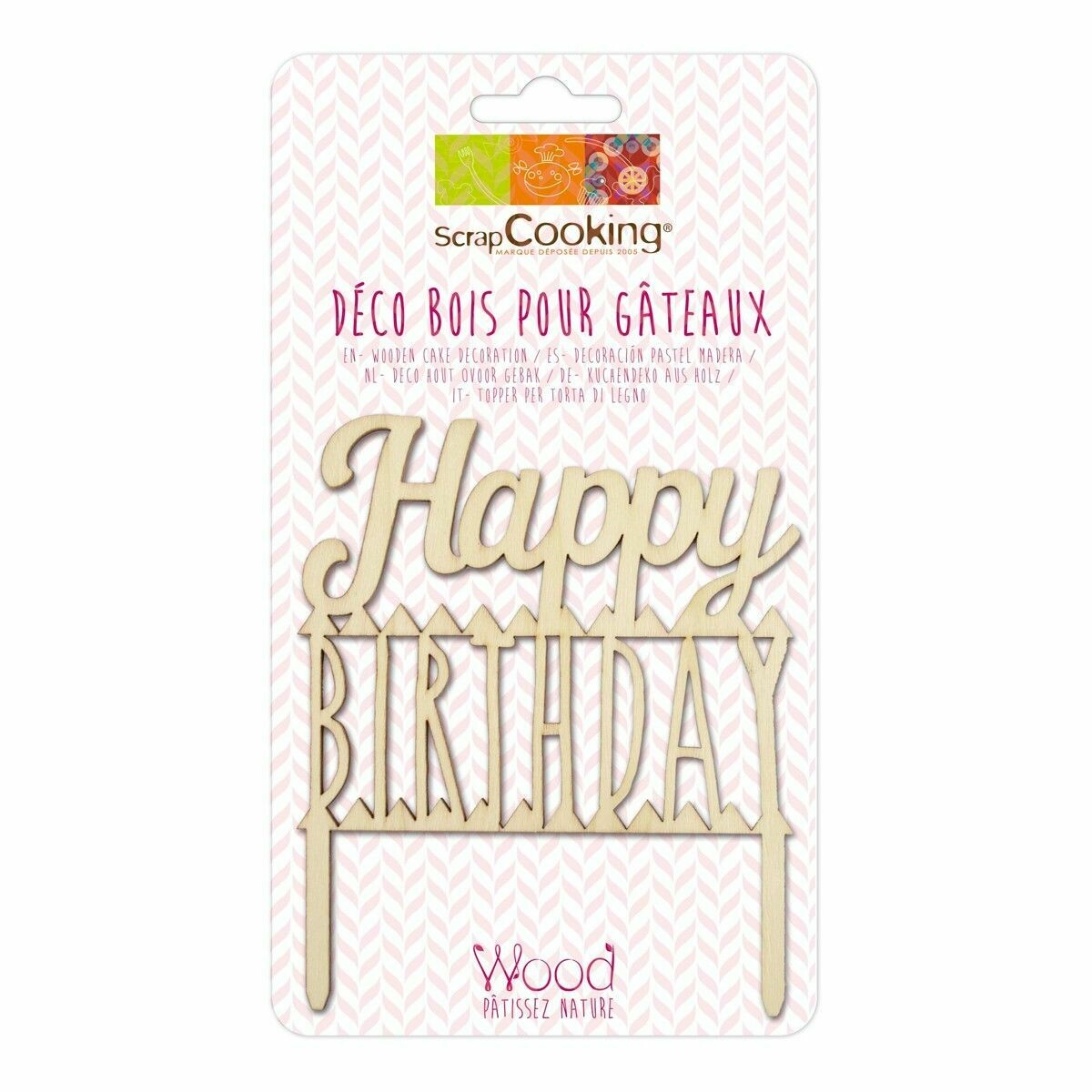 Scrapcooking Cake Topper Wood 'Happy Birthday' - Ξύλινο Τόπερ 'Happy Birthday'