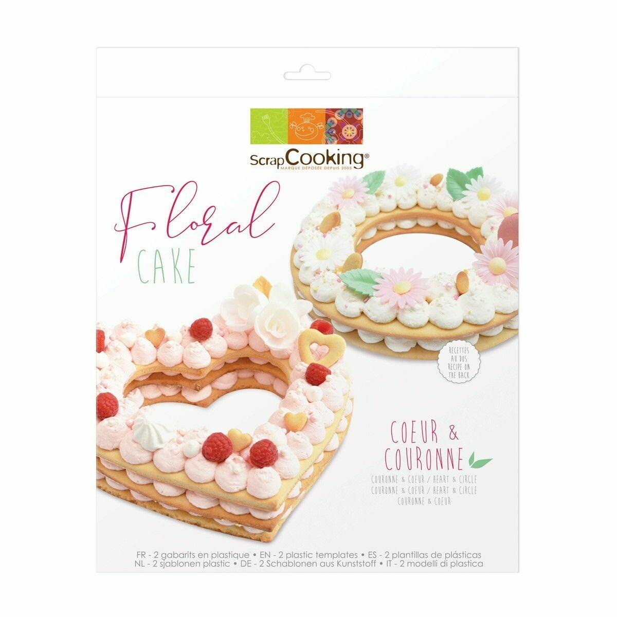 Scrapcooking Cookie Template -FLORAL Set of 2 - Πρότυπο για κατασκευή μεγάλου μπισκότου σε σχήμα Καρδιάς και Κύκλου