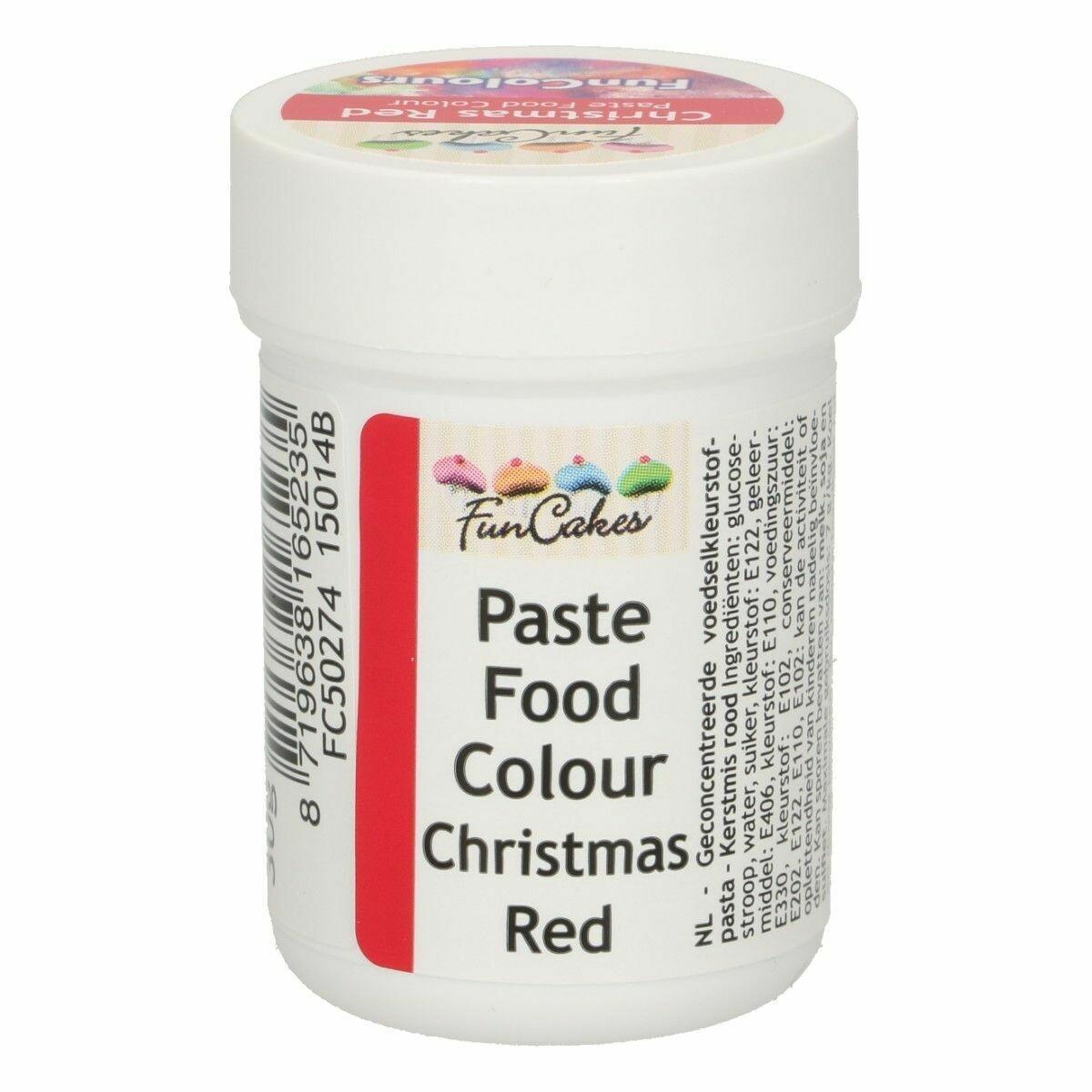 FunCakes FunColours PASTE - CHRISTMAS RED - Χρώμα σε Πάστα - Κόκκινο Χριστουγέννων  30γρ