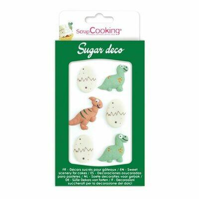 Scrapcooking Sugar Decorations DINO 6 τεμ -Βρώσιμα Διακοσμητικά Ζαχαρωτά Δεινόσαυροι