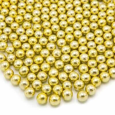 Happy Sprinkles - Choco Dragees -GOLD METALLIC -MEDIUM 90g - Βρώσιμες σοκολατένιες πέρλες Χρυσές Μεσαίες