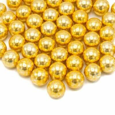 Happy Sprinkles - Choco Dragees -VINTAGE GOLD METALLIC -XXL 130g - Βρώσιμες σοκολατένιες πέρλες σε Μεταλλικό Χρυσό Πολύ Μεγάλες