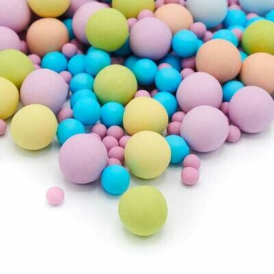 Happy Sprinkles - Choco Dragees -BUBBLEGUM CRUNCH 135g - Βρώσιμες σοκολατένιες πέρλες σε Παστέλ αποχρώσεις