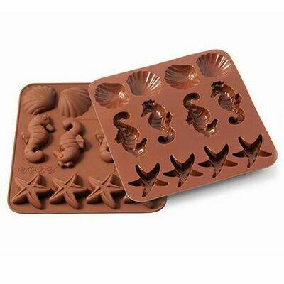 Silikomart Chocolate Mould -SEALIFE - SHELLS, SEAHORSE, STARFISH - Καλούπι Σιλικόνης για καλοκαρινά σοκολατάκια