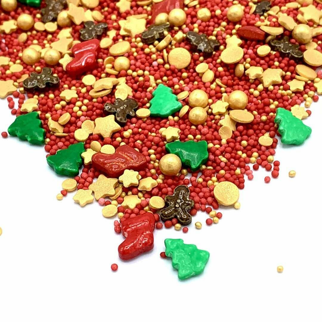 Happy Sprinkles Mix -SANTA'S FAVOURITE 180g -  Μείγμα Ζαχαρωτών Χριστουγεννιάτικο με Ελατάκια, Μπότες και Μπισκοτανθρώπους