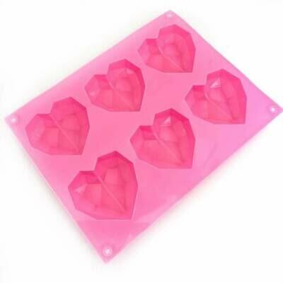 Happy Sprinkles Mould -Diamond MINI Hearts - Καλούπι Σιλικόνης για 6 μικρές γεωμετρικές Καρδιές