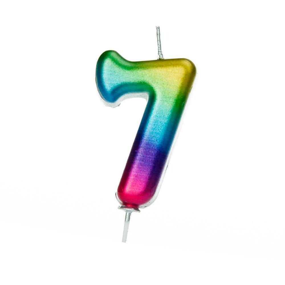 By AH -Candles -METALLIC RAINBOW '7' - Κεράκι Ουράνιο Τόξο Μεταλλικό αριθμός '7'