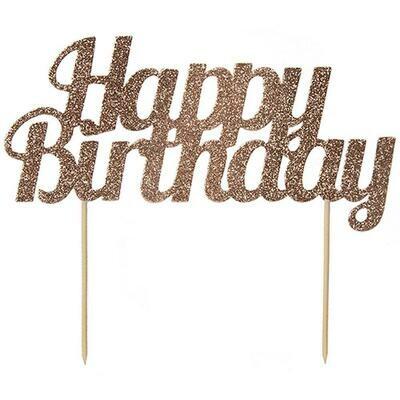 By AH -Cake Topper 'Happy Birthday' -ROSE GOLD GLITTER -Τόπερ Τούρτας Ροζ Χρυσό Γκλίτερ