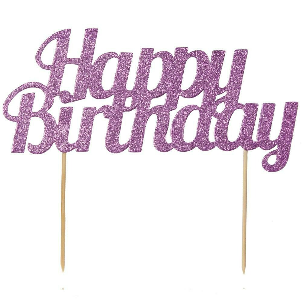 By AH -Cake Topper 'Happy Birthday' -PINK GLITTER -Τόπερ Τούρτας Ροζ Γκλίτερ