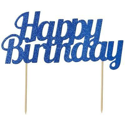 By AH -Cake Topper 'Happy Birthday' -BLUE GLITTER -Τόπερ Τούρτας Μπλε Γκλίτερ