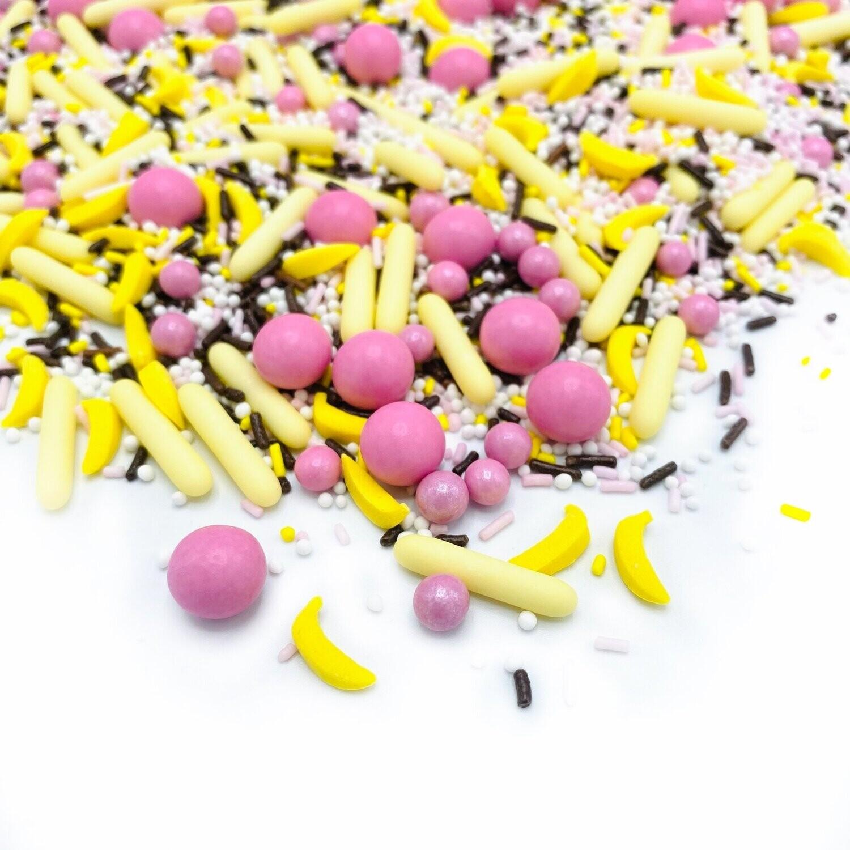 Happy Sprinkles Mix -BANANA SPLIT 90g - Μείγμα Ζαχαρωτών σε Κίτρινες και Ροζ Αποχρώσεις